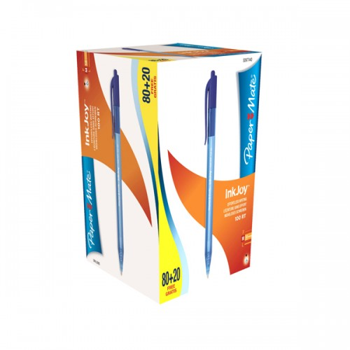 Special pack 80+20 penna sfera scatto INKJOY Stick 100RT 1,0mm blu PAPERMATE